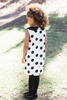 Poppy Sleeveless Polka Dot Dress with Black Collar