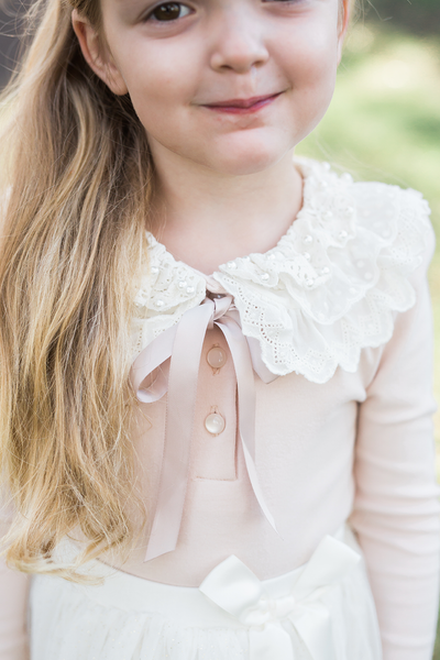 Audrey Soft Pink Lace Collar Long Sleeve Top