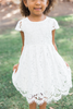 Mia Short Sleeve Lace Dress White