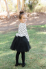Lucy Long Sleeve Polka Dot Black Tulle Dress