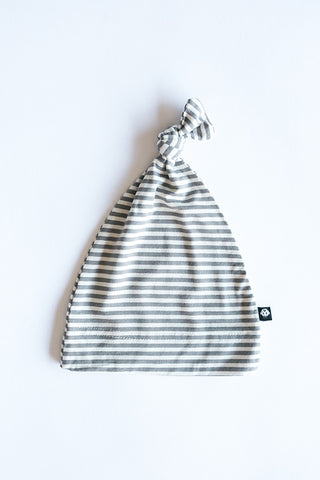 Bailey Knot Cap - Glacial Grey Mini Stripe by Sweet Bamboo