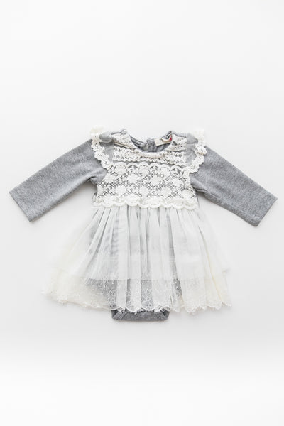 Kenna Gray Lace Onesie