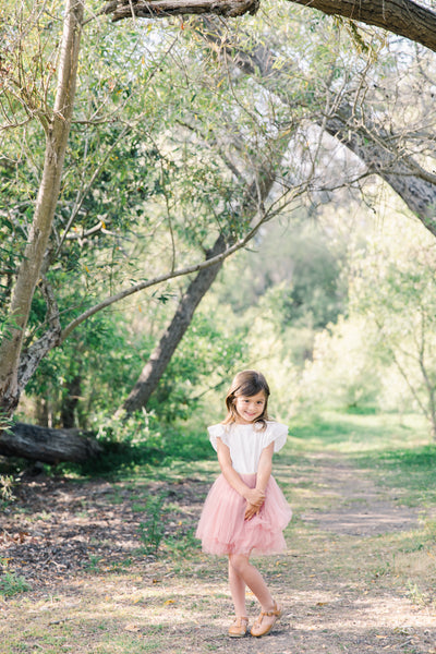 Emma Rose Tulle Tutu Skirt with Gold Glitter Waistband