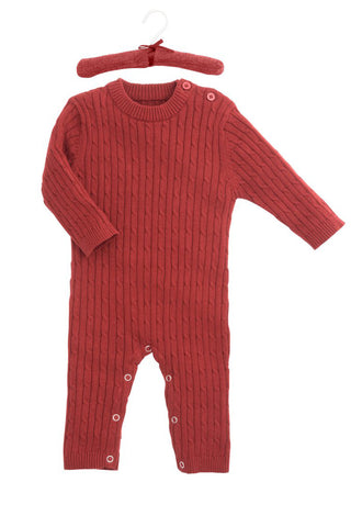 Jaime Red Cable Jumpsuit by Elegant Baby