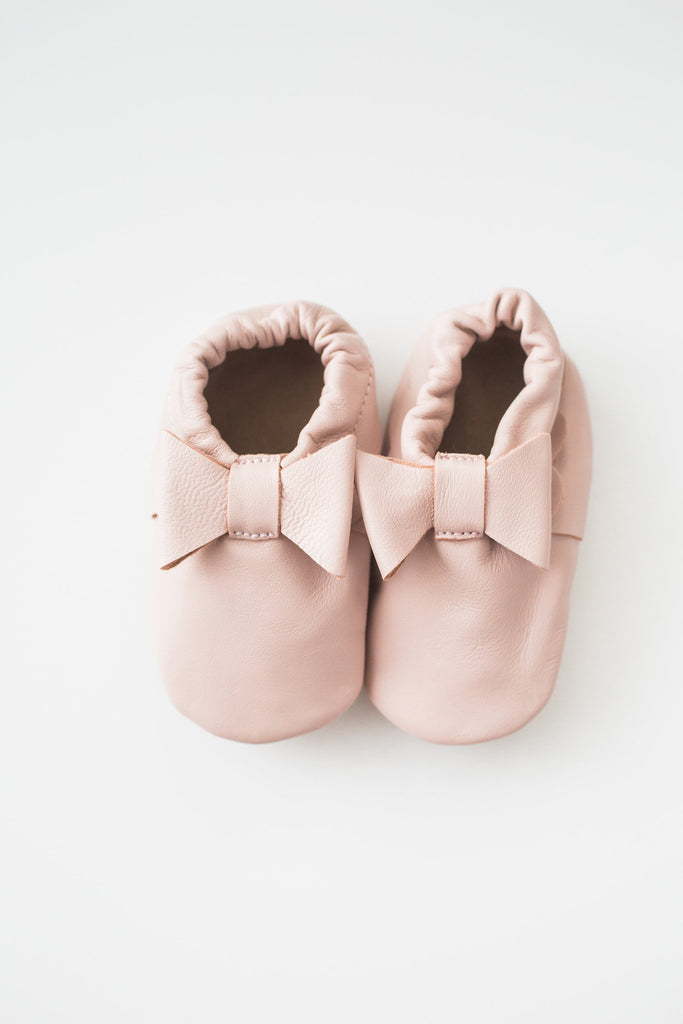 Ava Baby Pink Leather Bow Booties