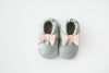 Eloise Gray With Pink Bow Leather Booties