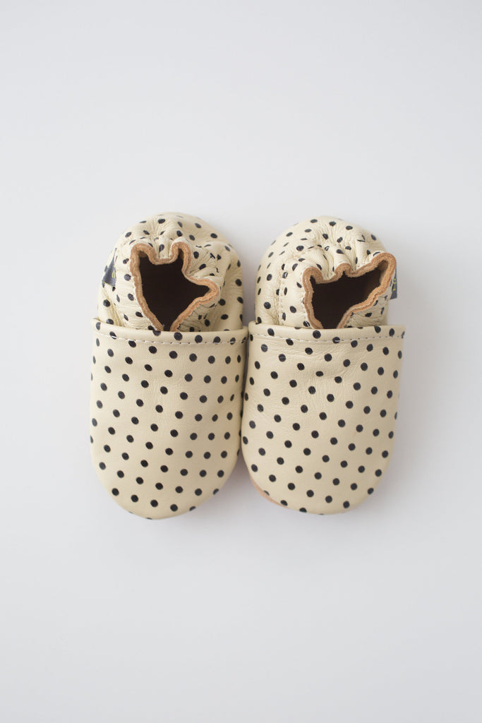 Stacey Cream and Black Polka Dots Leather Booties