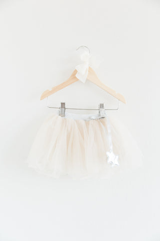 Harper Cream Tulle Tutu Skirt With Silver Star Appliqué