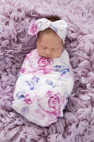 Riley Lilac Skies I Snuggle Swaddle Sack & Topknot Set by Snuggle Hunny Kids