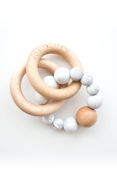 Lucas Bubble Silicone & Wood Teether - Marble