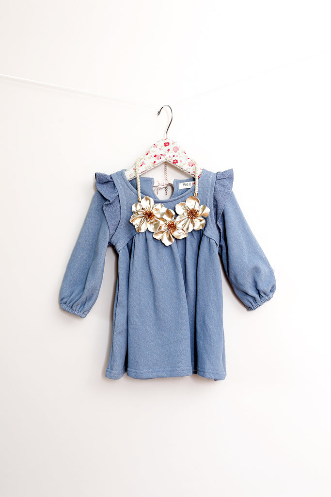 Shelly Blue Ruffle Tunic & Necklace