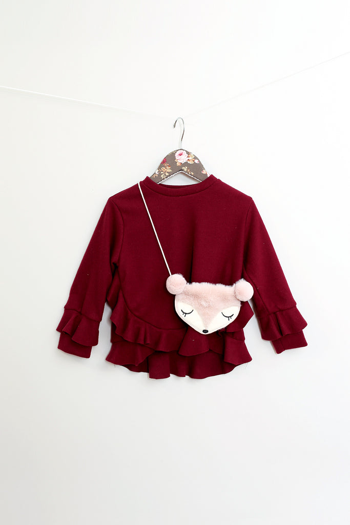 Ruby Burgundy Frill Top With Fox Purse