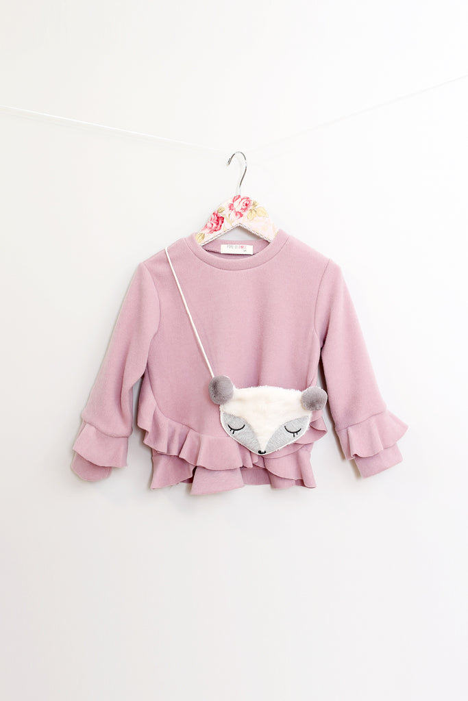 Ruby Mauve Frill Top With Fox Purse