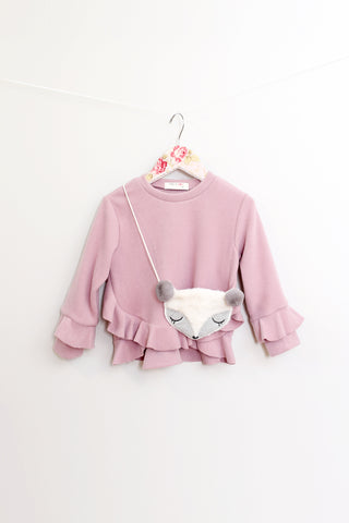 Ruby Muave Frill Top With Fox Purse