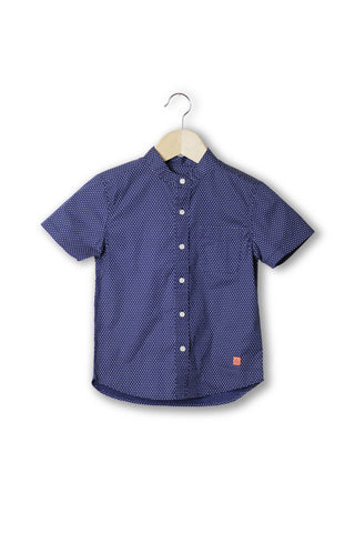 Preston Navy With Polka Dot Banded Collar Shirt