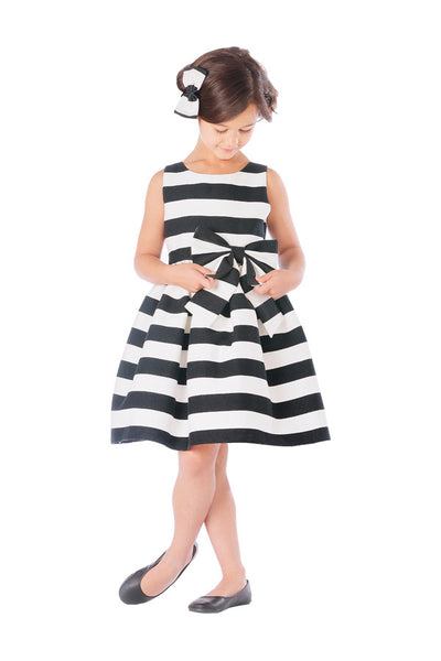 Irene Bold Stripe Woven with Bow