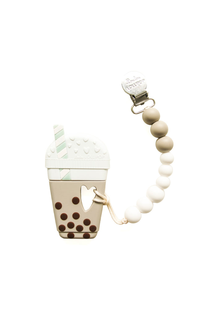 Everly Milk Tea Teether with Holder Taupe Brown