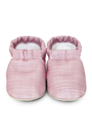 Lisa Pink Linen Booties by Clamfeet