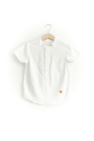 Preston White With Polka Dot Banded Collar Shirt