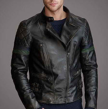 Men's Black Leather Biker Jacket - Rugged Jackets