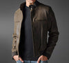 Distressed Leather Jacket For Men - Ribbed Knit Leather Jackets