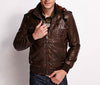 Cowhide Leather Jacket - Ribbed Jersey Knit - Faux Fur - Men