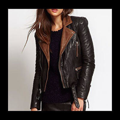 Two Toned Women's Leather Jacket - Classic Casual Leather Jackets