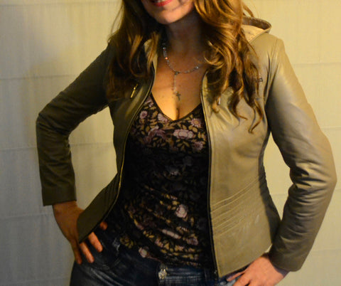 Slimming Leather Jacket - Custom Women's Leather Jackets - Almond