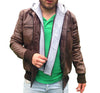 VANCOUVER - Men's Hooded Leather Jacket - Custom Leather Jackets