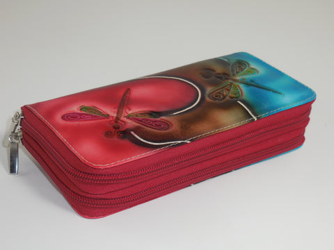 Genuine Leather Multi - Pocket Clutch Wallet Zippered - Dragonfly