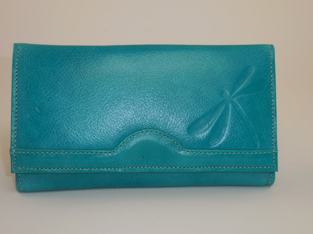 BogaTrends Genuine Leather Multipocket Aqua Green Tri-fold Wallet Snapped, W-3