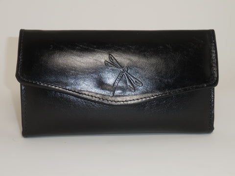 Genuine Leather Multi-Pocket Black Tri-fold Snap Wallet, Ladies Clutch W-6