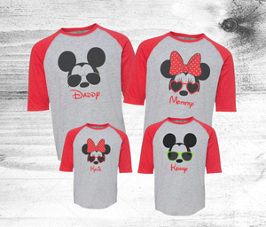 d10fb8ec4 Disney Family shirts - Red Sleeve Grey Body Family Disney shirts - Mickey  Sunglasses shirts - Disney Birthday Shirts