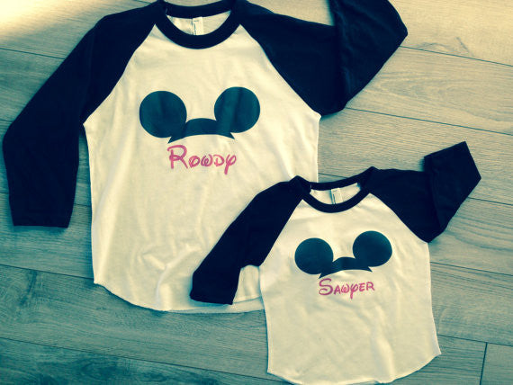 Disney Front Only Custom Mickey Mouse Ears Disney Family Shirts 3 4 Sleeves Shirts
