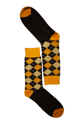 Mustard & Brown Diamond Sock