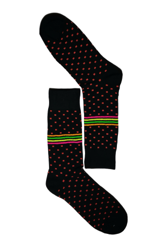 Black & Pink Dot Sock