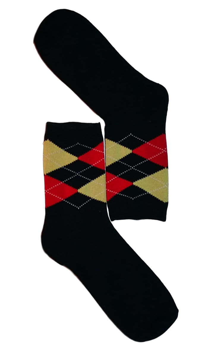 Black, Red & Beige Diamond Sock