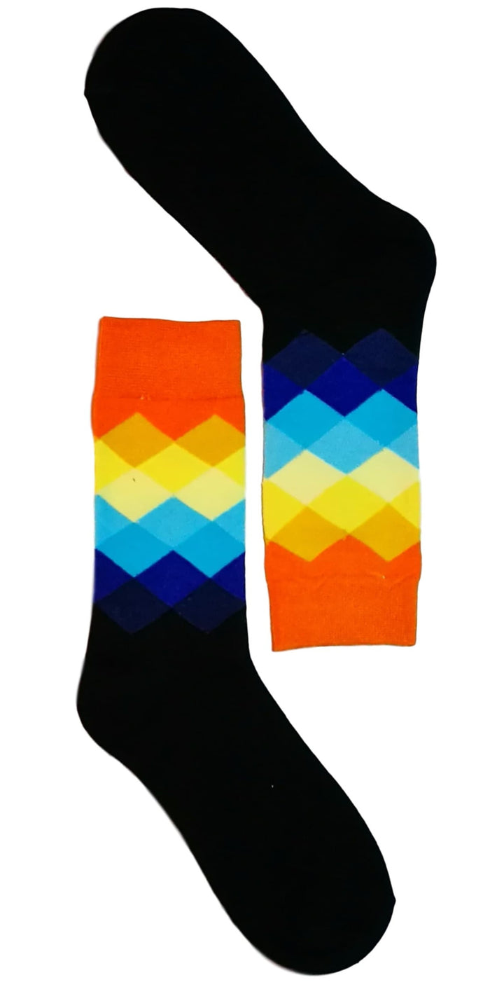Black/Orange Diamond Sock