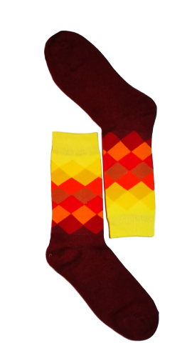 men dress socks - Dark Red/Yellow Diamond Sock