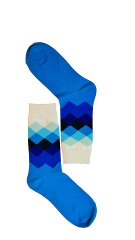 Blue/White Diamond Sock