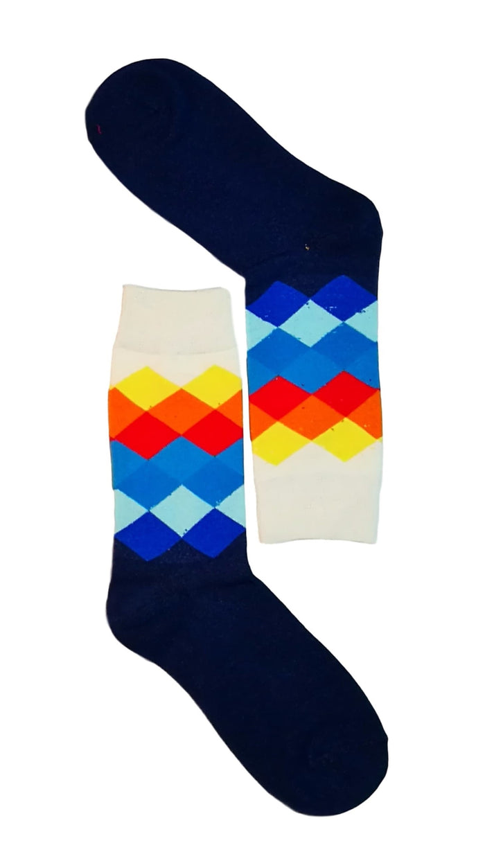 men dress socks - Dark Blue/White Diamond Sock