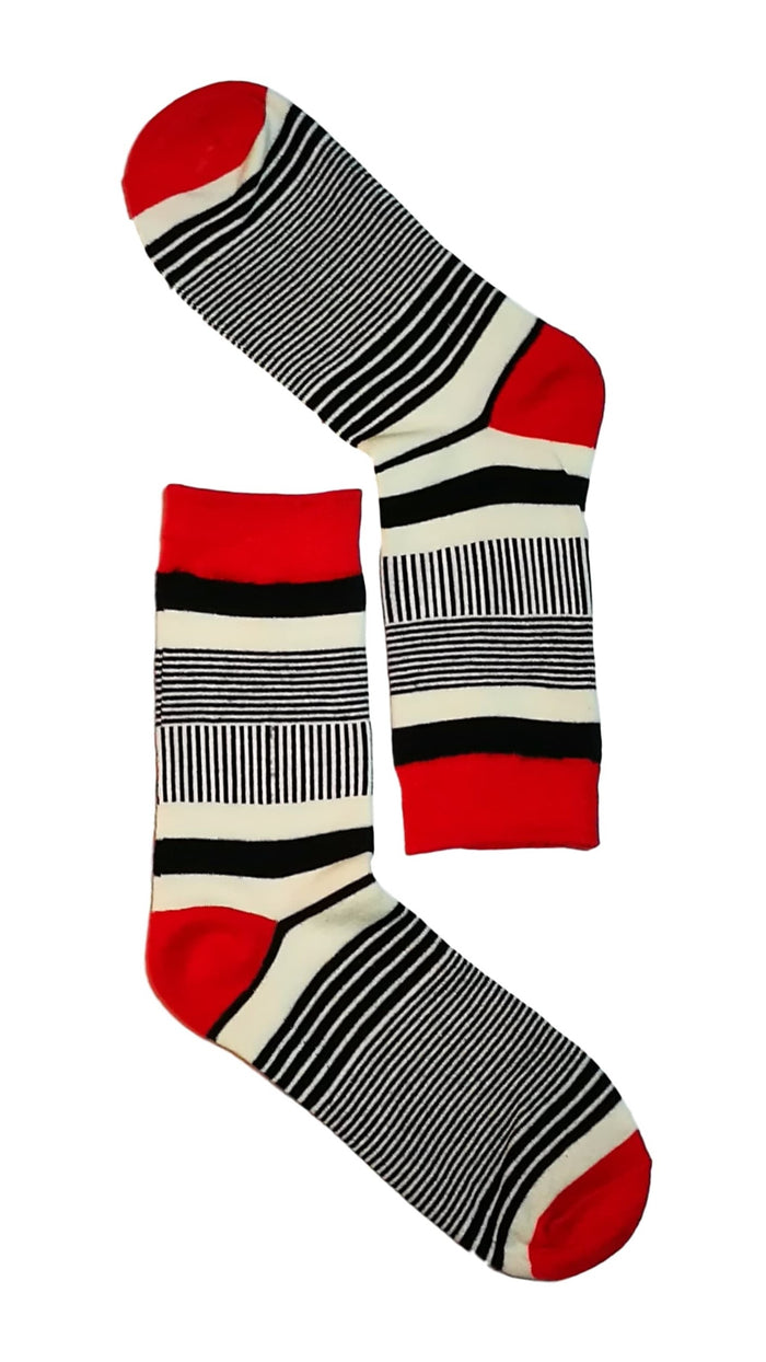 men dress socks -Red/Black/White Stripe Sock