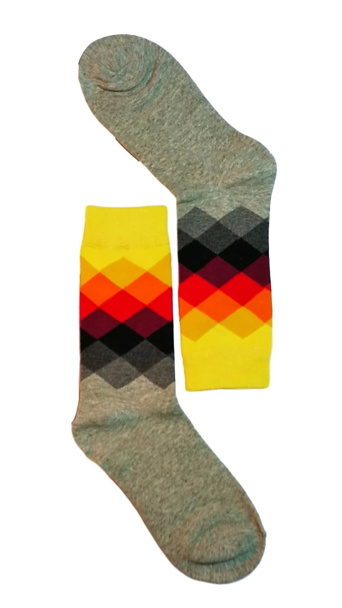 Grey/Yellow Diamond Sock