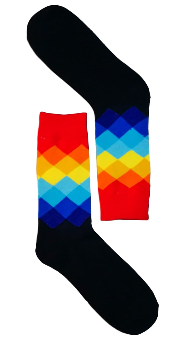 Dark Blue/Red Diamond Sock