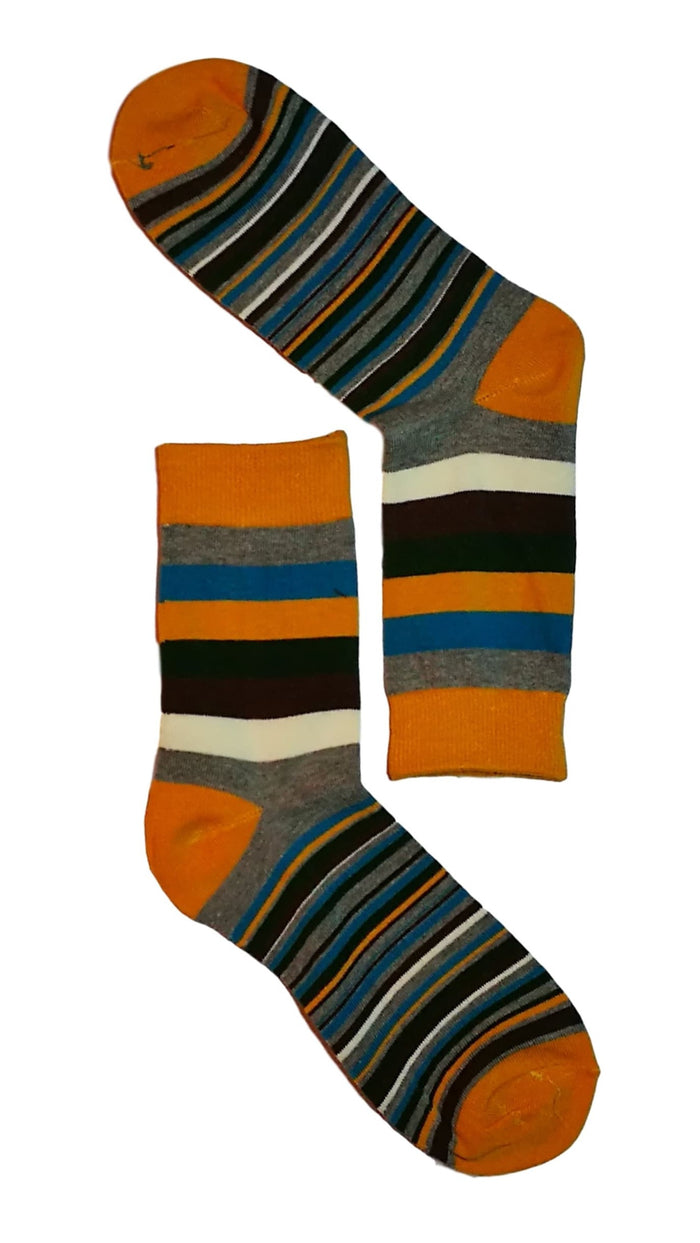 men dress socks - Burnt Orange Toe Colour Stripe Sock
