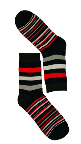 men dress socks - Black toe stripe sock