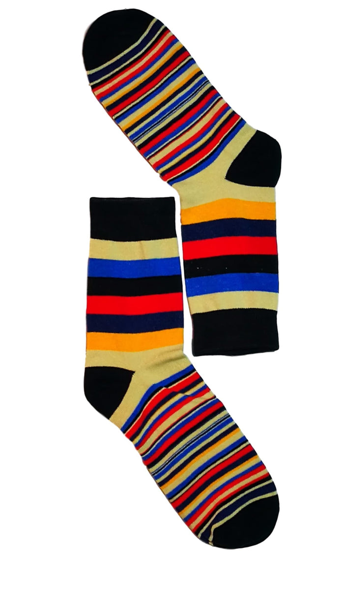 men dress socks - Black toe colour stripe sock