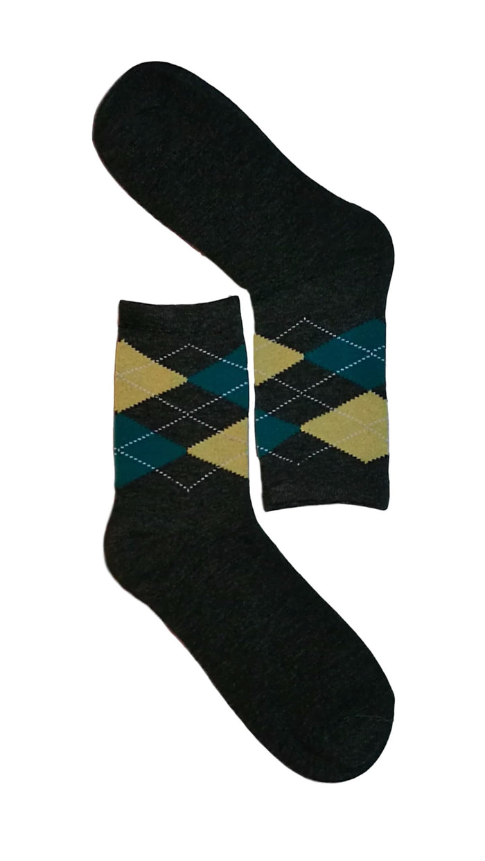Dark Grey, Green & Beige Diamond Sock