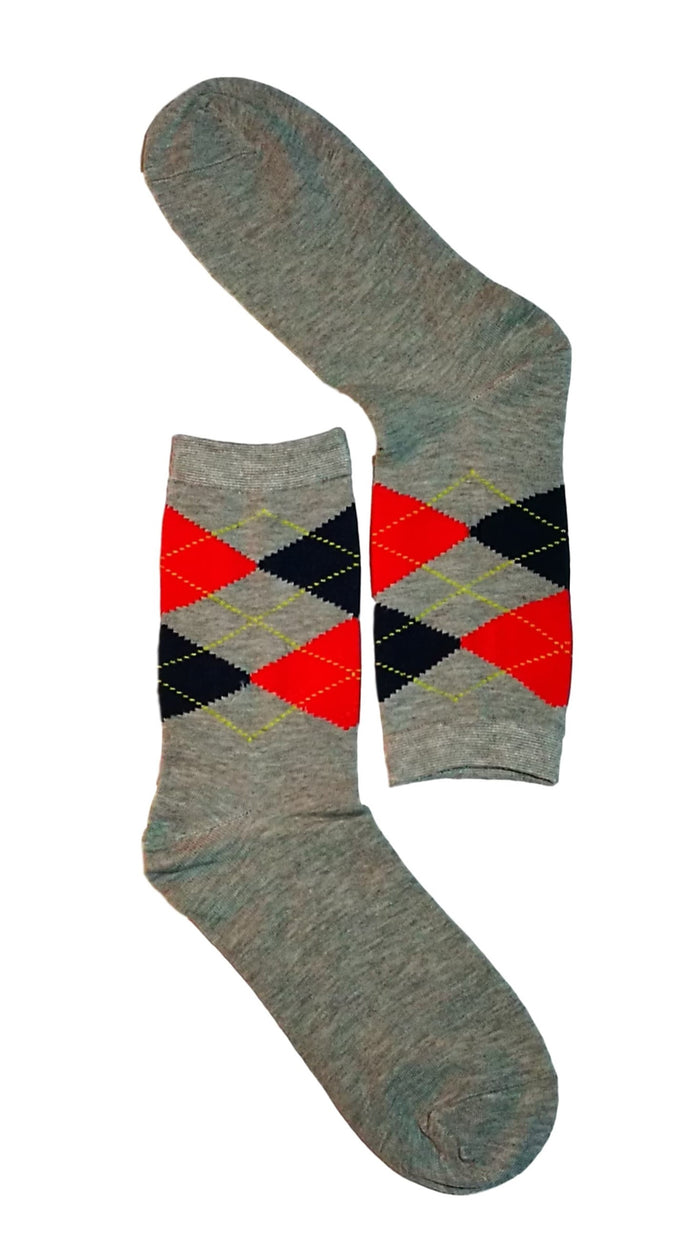Grey, Red & Black Diamond Sock