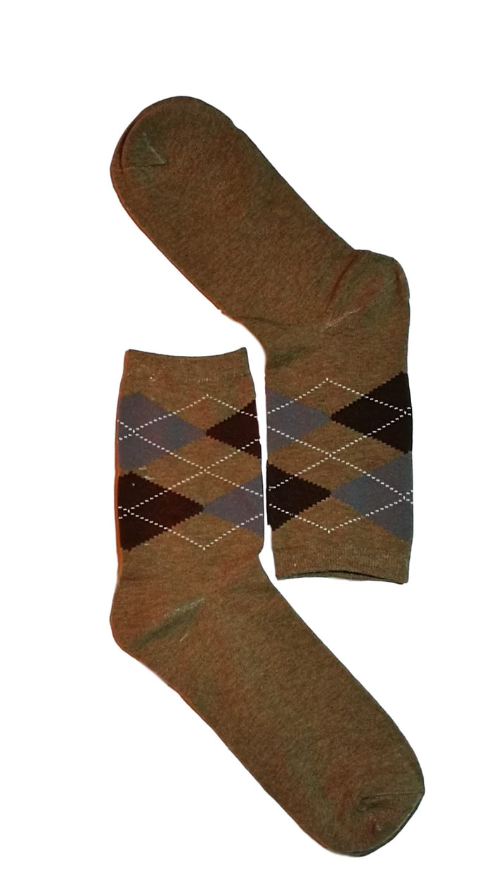 Grey, Blue & Brown Diamond Sock